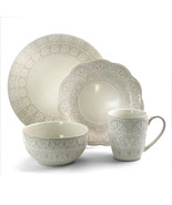 Elama White Lace 16 Piece Luxurious Stoneware Dinnerware with Complete S... - $77.17