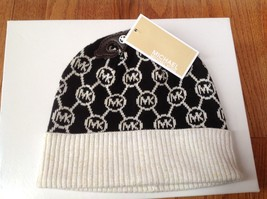 MICHAEL MK Circle Monogram Logo Knit Black Beanie One Size Hat NWT - £23.63 GBP