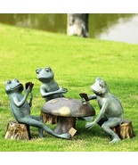 SPI Home Card Game Cheat Frogs Garden Pond Mushroom Metal Sculpture Set ... - $495.00