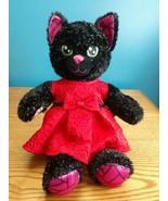 BUILD A BEAR Black Purple Night Magic Sparkle Cat Kitten Plush Kitty w D... - $24.70