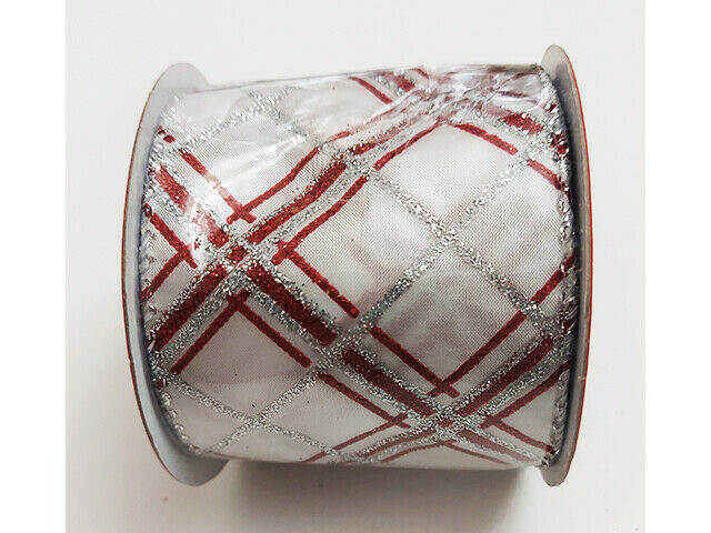 "Plaid Fabric Ribbon for the Holidays, 2.5"" x 12 Feet"