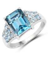 Sterling Silver 4.56 Carat Genuine London and Swiss Blue Topaz Ring Size 6 7 8 - $144.95
