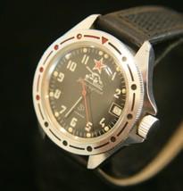 Rare vintage Soviet Vostok Tank Commander 17 jewel military steel wristw... - $89.10