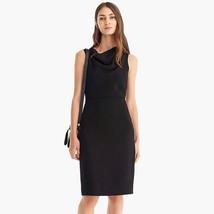 NWT J.Crew Cowl Neck Sheath in Black 365 Wool Crepe Sleeveless Dress 8 $138 - $49.39