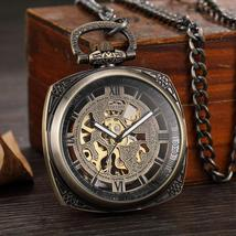 Vintage, mechanical, bronze pocket watch with roman numerals dial. - $29.99+