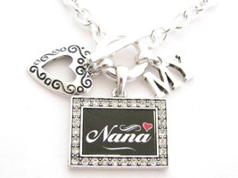 Nana I Love Heart My Silver Toggle Necklace Crystal Black Rectangle Jewelry - £11.38 GBP
