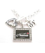 Nana I Love Heart My Silver Toggle Necklace Crystal Black Rectangle Jewelry - $15.83
