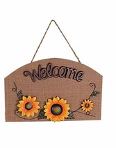Harvest Sunflower Wall Hanging Wooden Sunflower Plaque Welcome Sign Wall... - $16.30