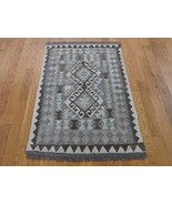 """2'7""""x4'1"""" Undyed Natural Wool Afghan Kilim Reversible Hand Woven Rug G42201 - $109.04"""