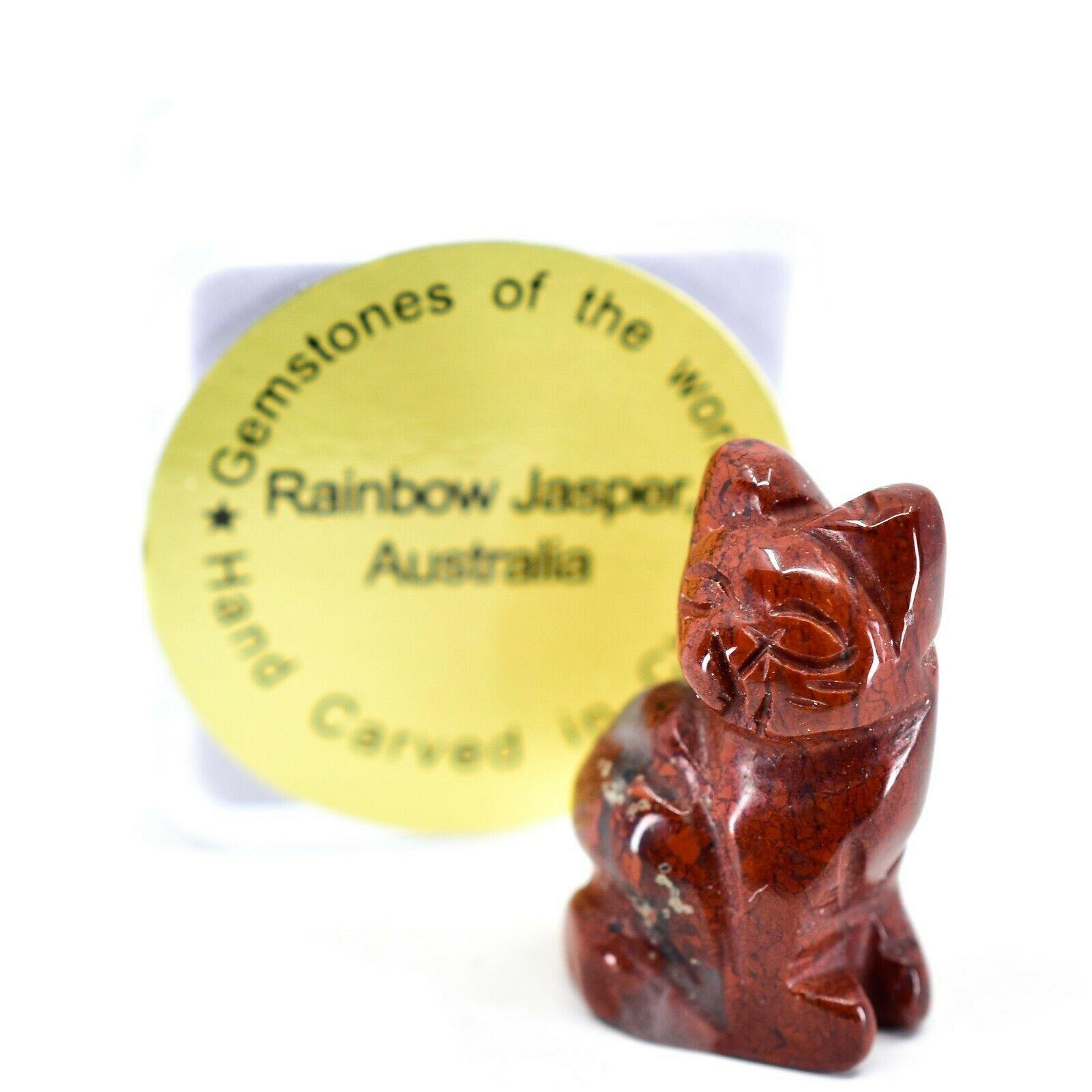 Rainbow Jasper Gemstone Tiny Miniature Kitty Cat Figurine Hand Carved in China