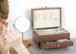 Wood Jewelry Organizer Women Jewelry Box 2-Layered  image 2