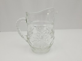 "Vintage Glass Pitcher Clear Pitcher Mid Century 6"" Tall Star Design - $16.44"