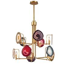 New Mid Century Modern Regency Agate Stone Chandelier 10-Light Gold Pendant  - $1,545.00