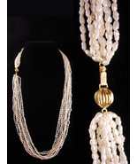 "14kt gold 10 strand pearl necklace - 30"" long - Bridal Pearl Necklace -V... - $245.00"