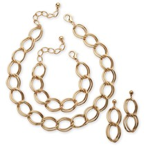 PalmBeach Jewelry Yellow Gold Tone Curb-Link Necklace, Bracelet and Earrings Set - $17.59