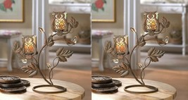 Candle Holder Stands w/ 2 Wise Owl Duo on Vine & Leaf Votive Glass Cups Set of 2 - $39.45