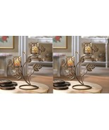 Candle Holder Stands w/ 2 Wise Owl Duo on Vine & Leaf Votive Glass Cups ... - $39.45