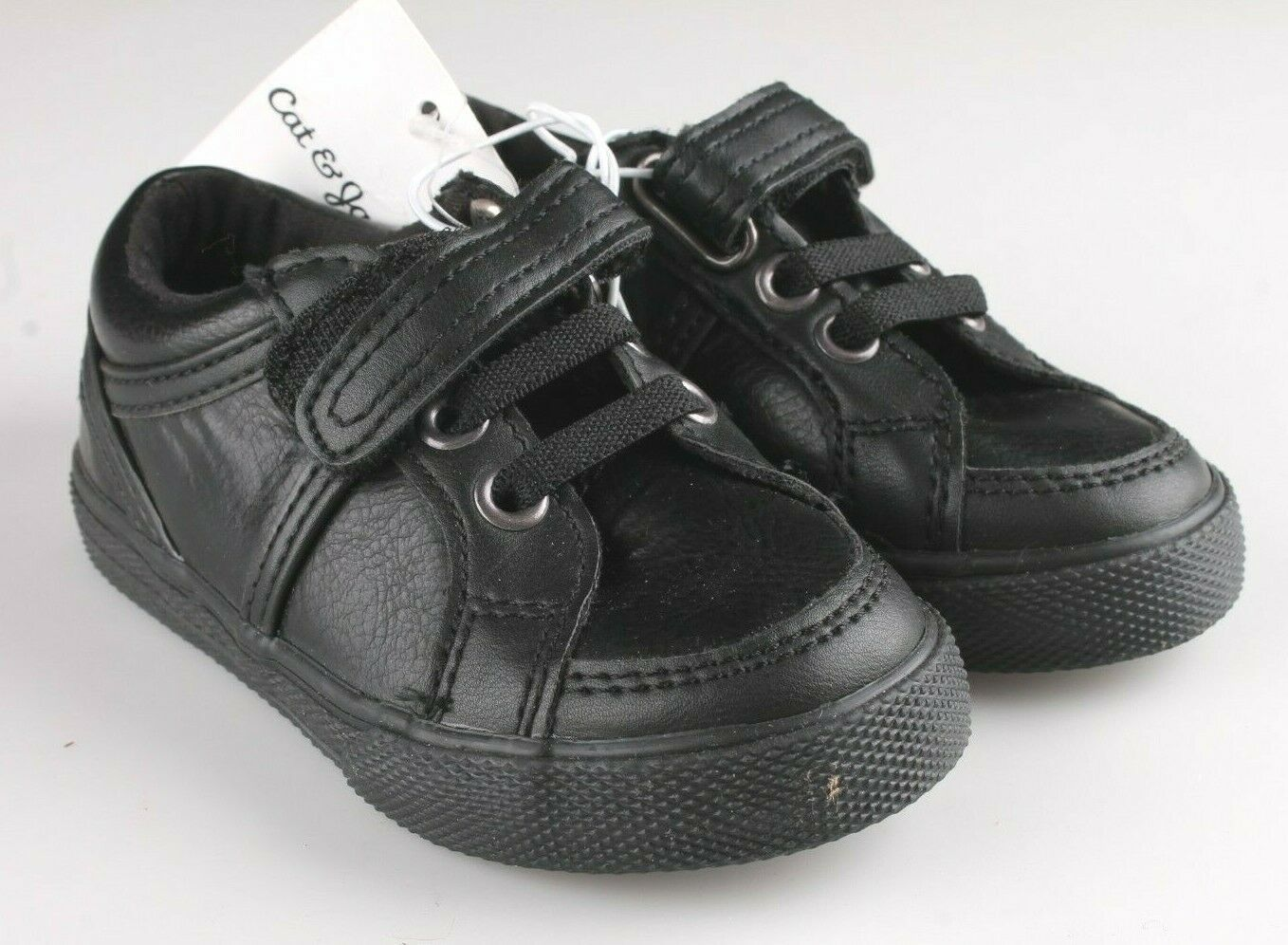 Cat & Jack Toddler Boys' Huxley Black Faux Leather Sneaker Shoes 6 US NWT