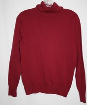 Sonoma Misses SMALL Turtleneck Sweater Red Burgundy Cotton Blend Long Sleeves - $13.52
