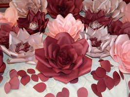 Lot 15 Large Burgundy Paper flower wall decor, flore de papel, wedding p... - $135.00