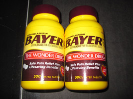 Bayer Aspirin Pain Reliever 2-500 coated tablets 325mg 11/18 - $34.29
