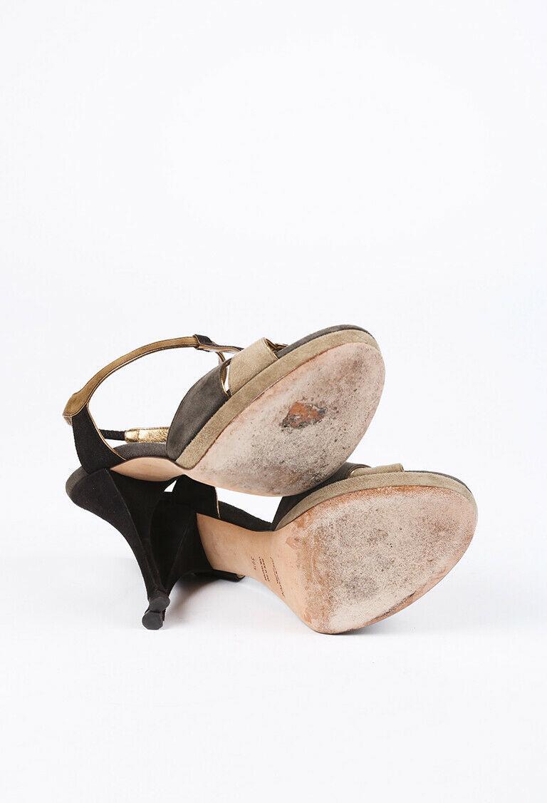 Yves Saint Laurent Color Block Suede T-Strap Sandals SZ 39.5