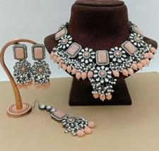 Indian Bollywood Black Silver Plated Peach Choker Kundan Necklace Earrings Set - $59.39