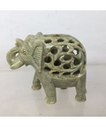 Vintage Hand Carved Soap Stone Elephant Figurine With Baby Inside Raised... - £11.05 GBP