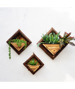 Hanging Frame Wooden Flower Pot Square Wood Storage Garden Basket Wall D... - £15.03 GBP+