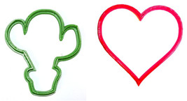 Im Stuck On You Valentines Cactus Plant Set Of 2 Cookie Cutter 3D USA PR... - $2.99