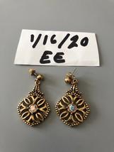 Vintage AB Rhinestone Goldtone Pierced Earrings - $7.91