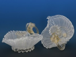 Vintage Murano Glass White Zanfirico Candle Holder Pair c.1950 image 2