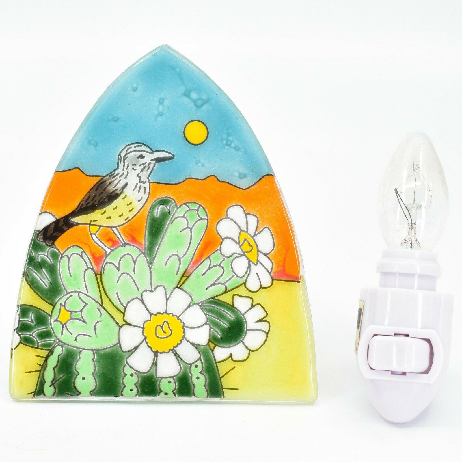 Fused Art Glass Desert Cactus Sunset Nightlight Night Light Handmade Ecuador