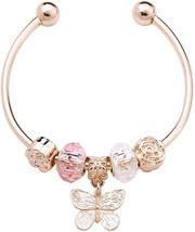 D EXCEED Women's Lovely Gold Butterfly Charm Cuff Bangle Bracelet Fashio... - $34.75