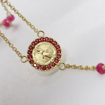 18K YELLOW GOLD ROSARY NECKLACE, FACETED RED RUBY ROOT, CROSS & MIRACULOUS MEDAL image 4