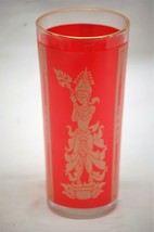 Vintage Culver Flared Asian Thai Glass Highball Ice Tea Tumbler Red Gold... - $12.86