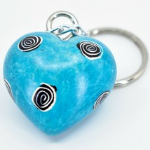 Tabaka Chigware Hand Carved Kisii Soapstone Sky Blue 3D Heart Keyring Keychain image 2