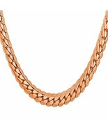 U7 Men Chain Rose Gold Plated Jewelry 6MM Wide 18KGP Stamp Long Snake Ch... - $17.06