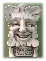 """Handcrafted Cast Stone 7.5"""" Smiling Greenman Face Home or Garden Welcome... - €50,89 EUR"""