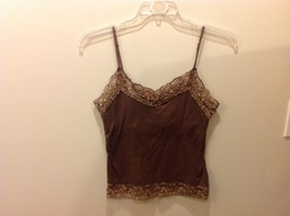 New York & Co Intimates Brown Cami w Floral Lace Trim Sz L image 1