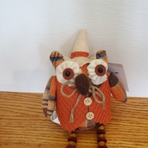 Owl Shelf Sitter, Plaid Fabric, wearing waistcoat and hat, bead legs, fall decor image 3