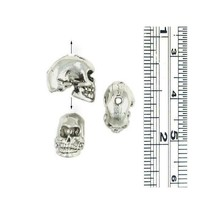 Skull Vertical Hole FINE PEWTER Bead - 12mm x 9mm x 7mm
