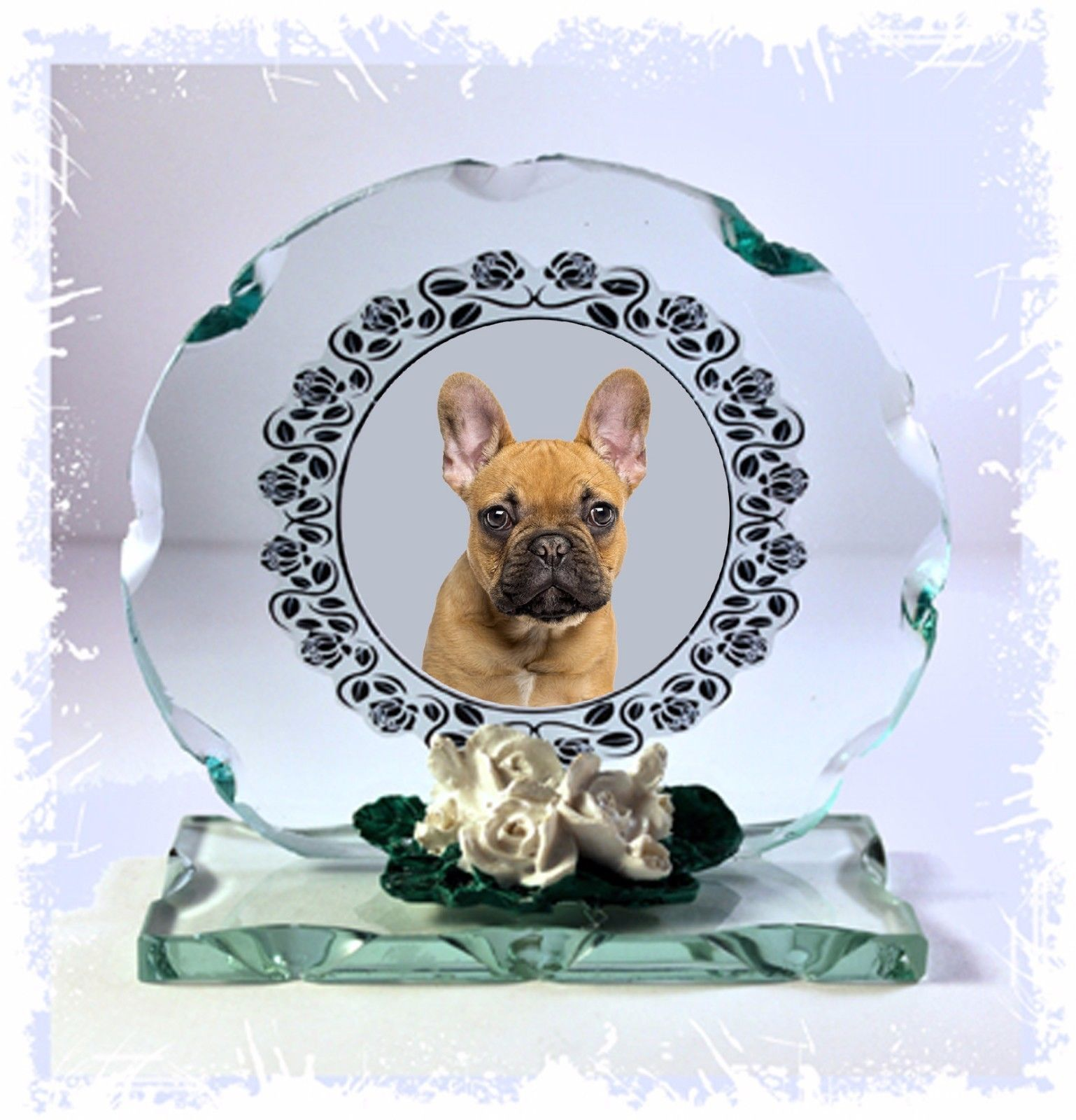 Frenchie   French Bulldog  crystal Cut Glass Plaque custom Made #1