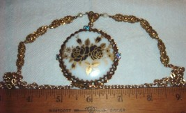 VTG WEST GERMANY MILK GLASS ROSE RHINESTONE NECKLACE PIN BROOCH CLIP EAR... - $267.99