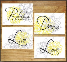 Yellow & Gray Wall Art Prints Decor Floral Flower Quotes Live Love Dream Nursery - $13.99