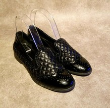 Franco Sarto Womens Tweed 2 Sz 6.5 M Black Slip On Quilted Loafers Flats - $29.99