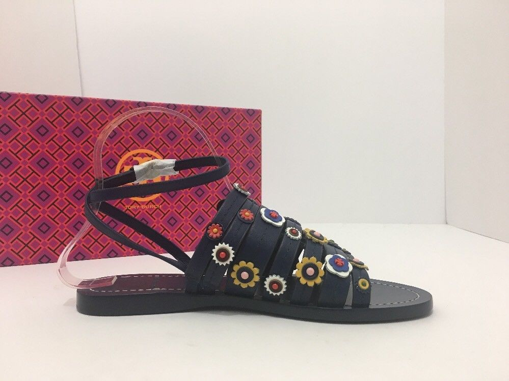 6892321aee80 Tory Burch Marguerite Navy Leather Floral Women s Flats Sandals Size 7 M