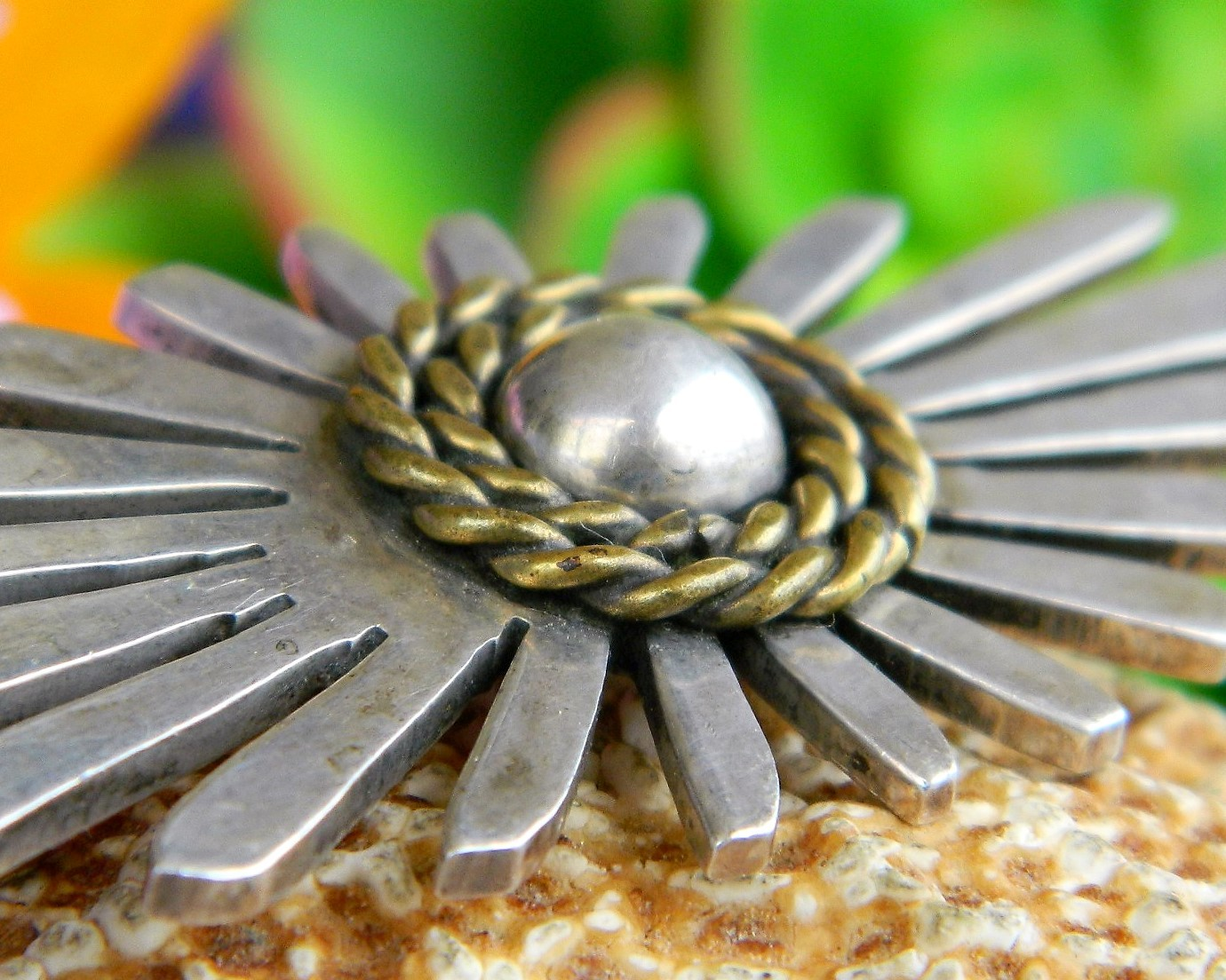 Vintage Taxco Mexico Sterling Silver Dome Modernist Brooch Pin TS 91