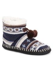Muk Luks Pom Pom Boot Bootie Slippers  S/M  SZ 5/7 & L/XL Size 8-10 NWT  BLUE - $24.99