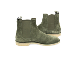 Handmade Men's Green Suede High Ankle Chelsea Boot image 2